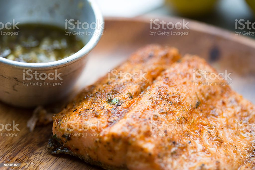 Trout and Lemon Butter stock photo