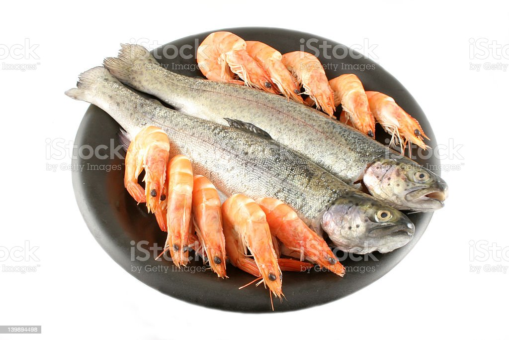 Trout and Shrimp stock photo
