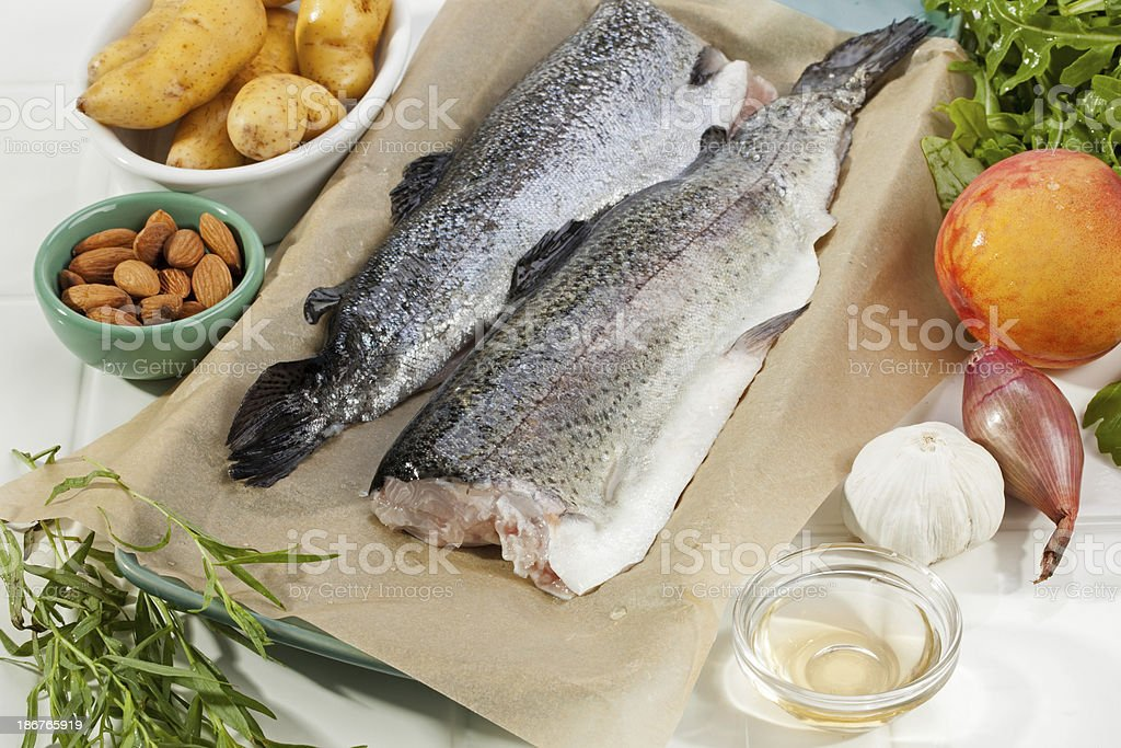 Trout dinner ingredients royalty-free stock photo