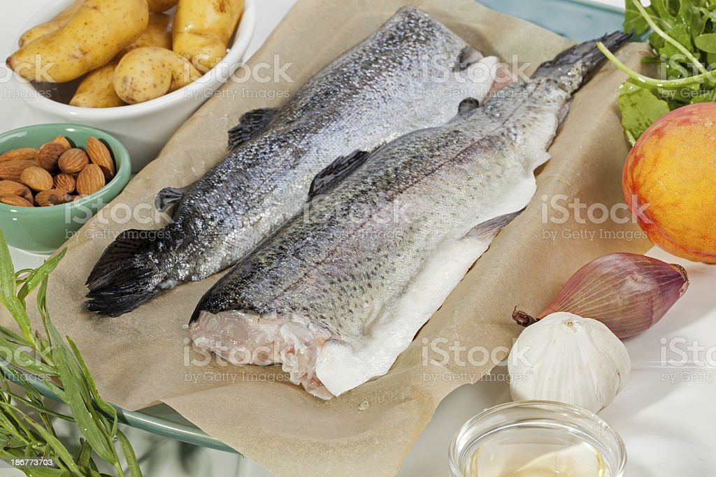 Trout dinner ingredients stock photo