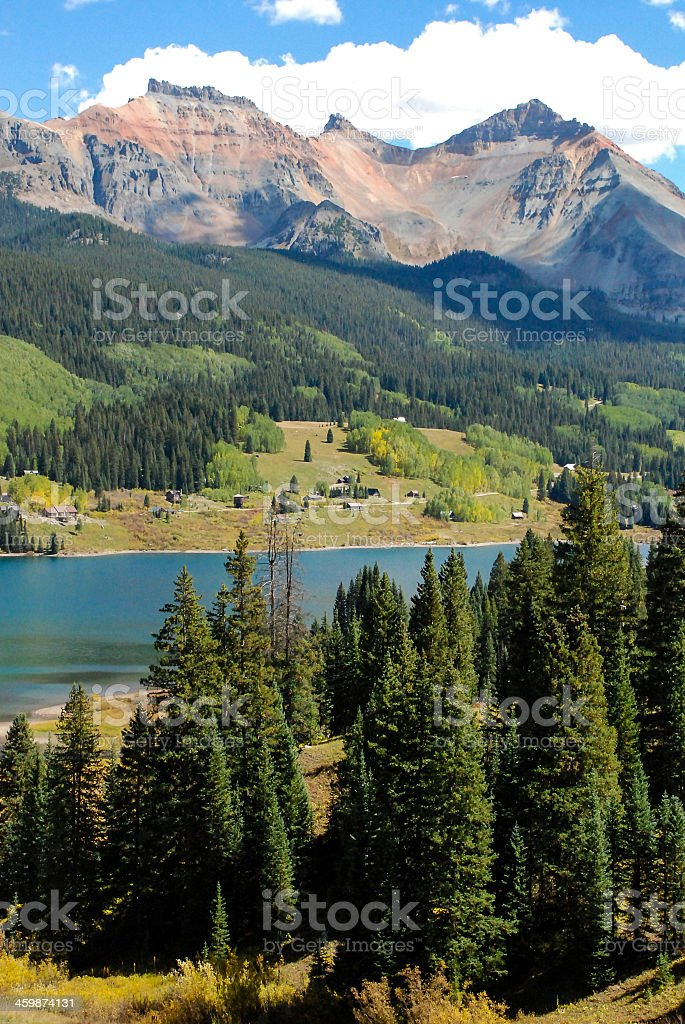 Trout Lake and Red Mountain near Telluride Colorado stock photo