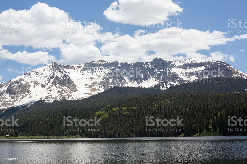 Trout Lake and San Juan Mountains stock photo