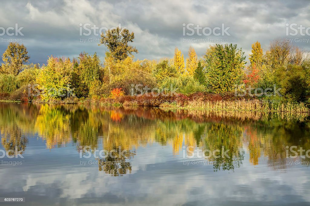 Trout Lake in autumn, Vancouver, BC, Canada stock photo