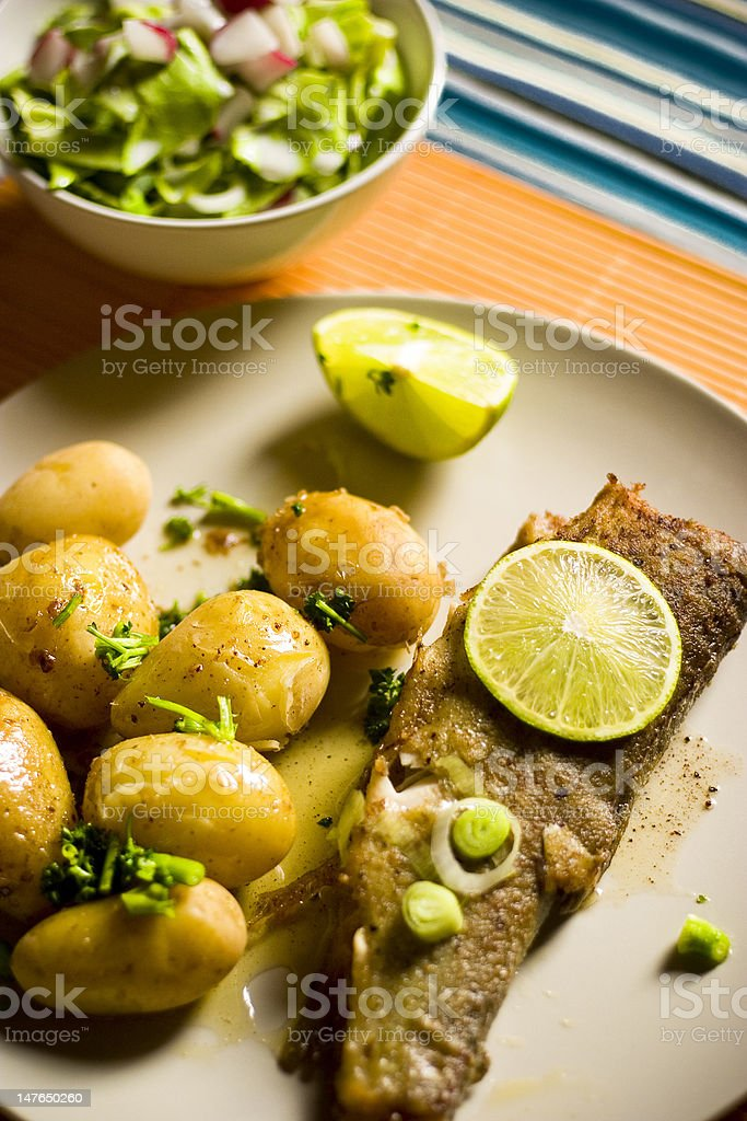 Trout With Potatoes royalty-free stock photo