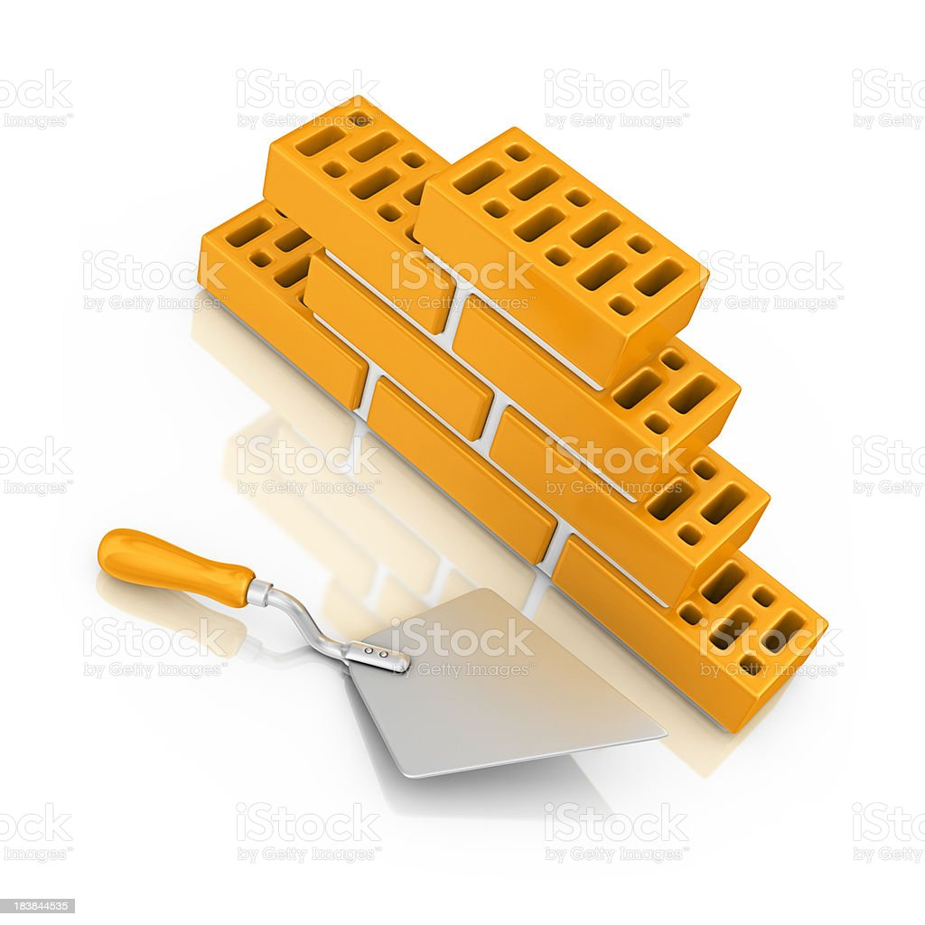 trowel and brick wall royalty-free stock photo