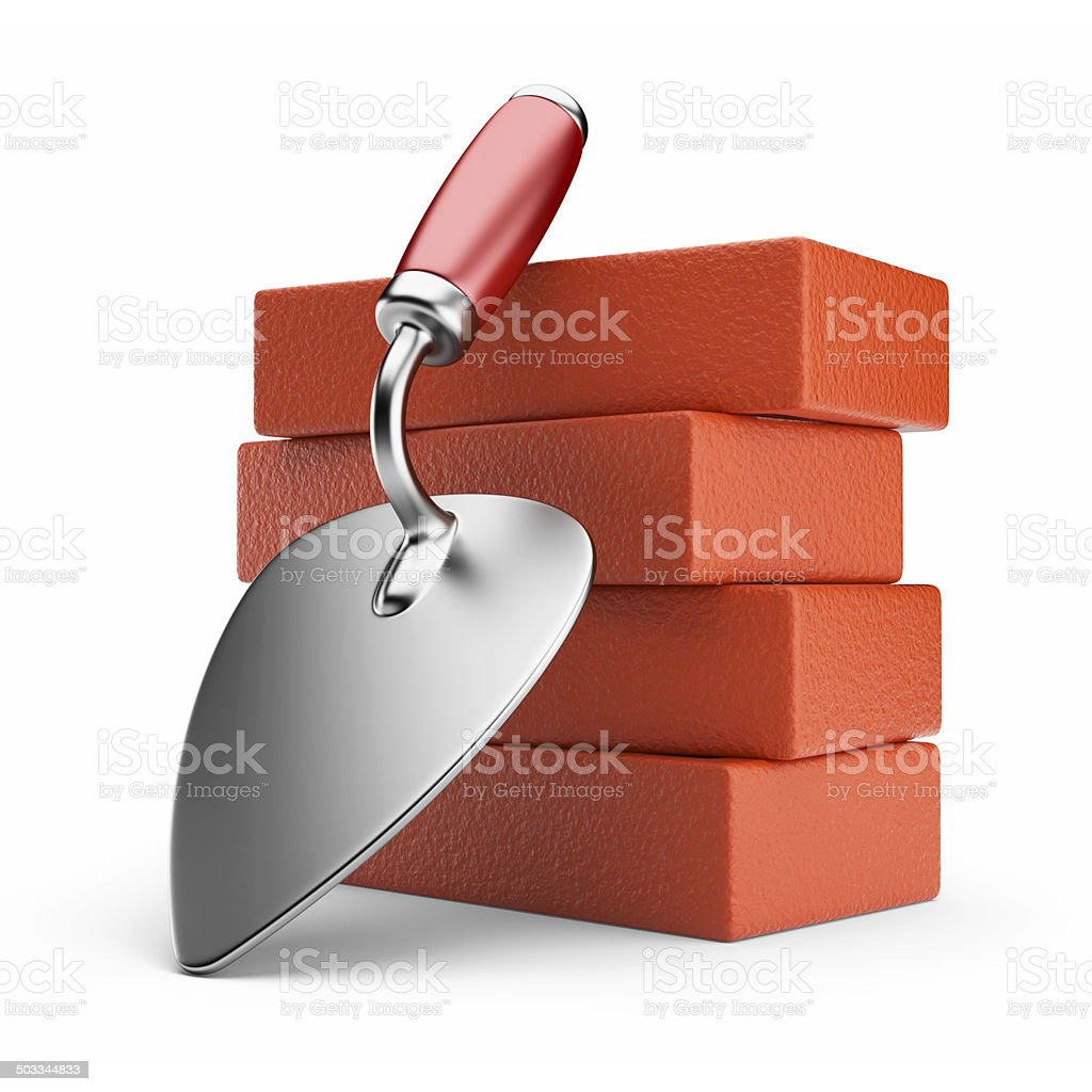 Trowel and bricks. Work place. 3D icon isolated stock photo