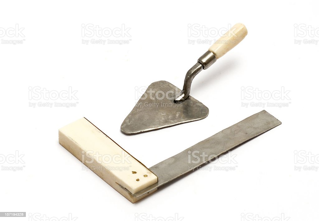 Trowel and square stock photo