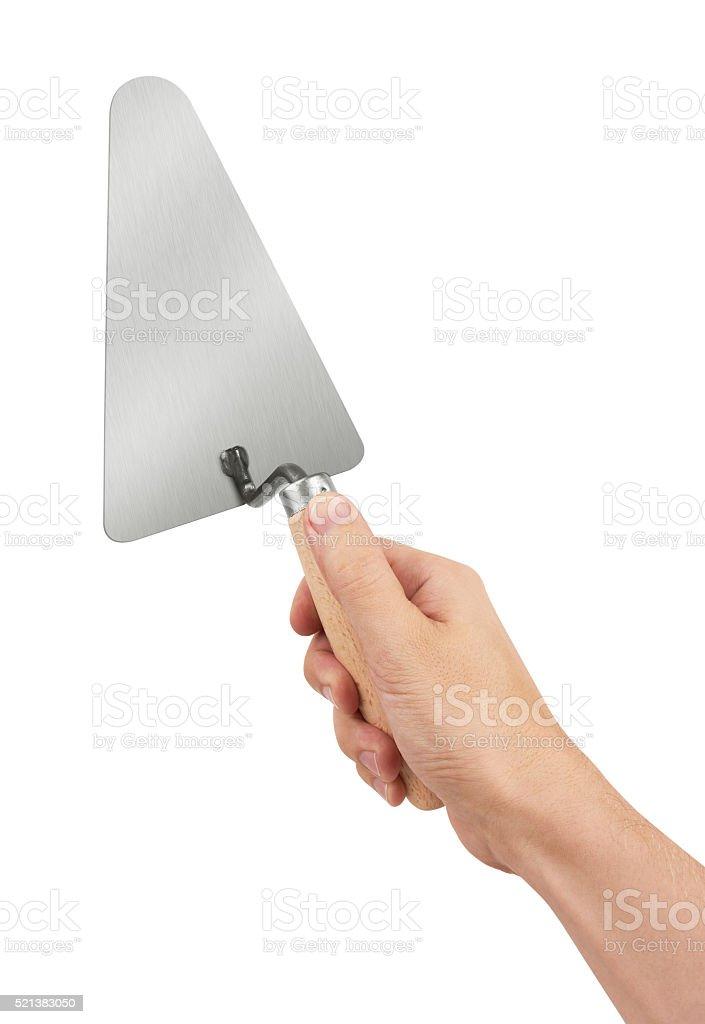 Trowel on white stock photo