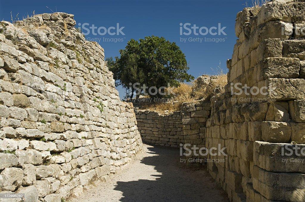 Troy city walls stock photo