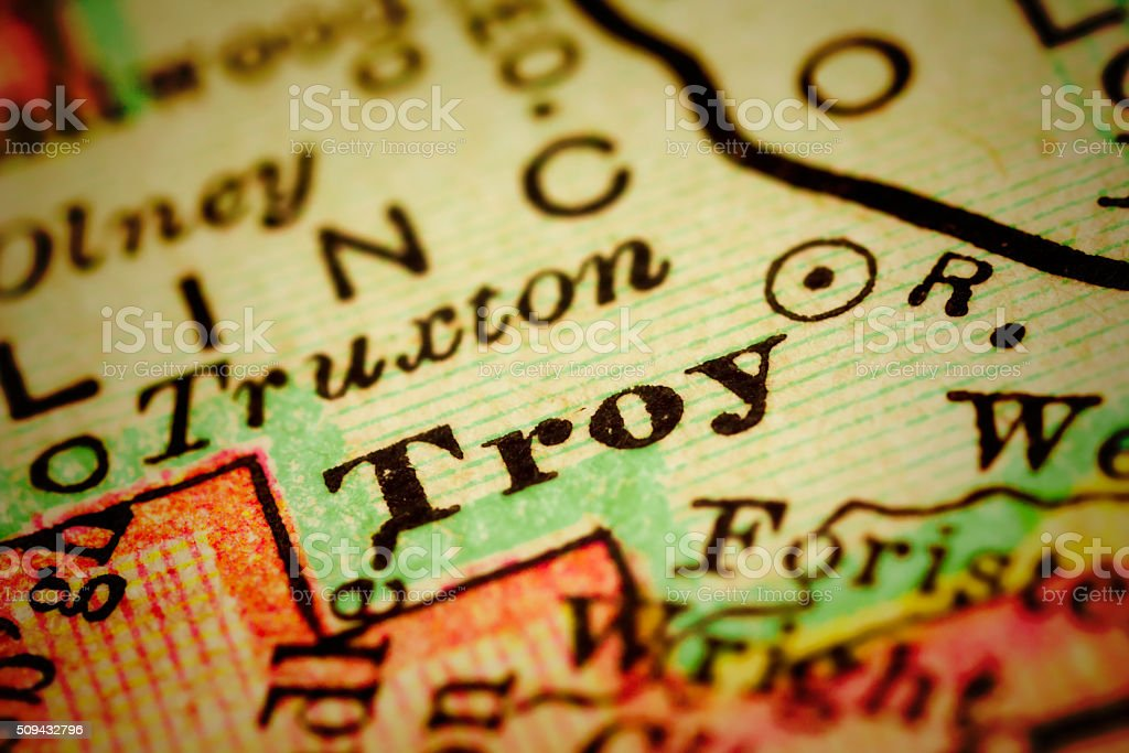 Troy, Missouri on an Antique map stock photo