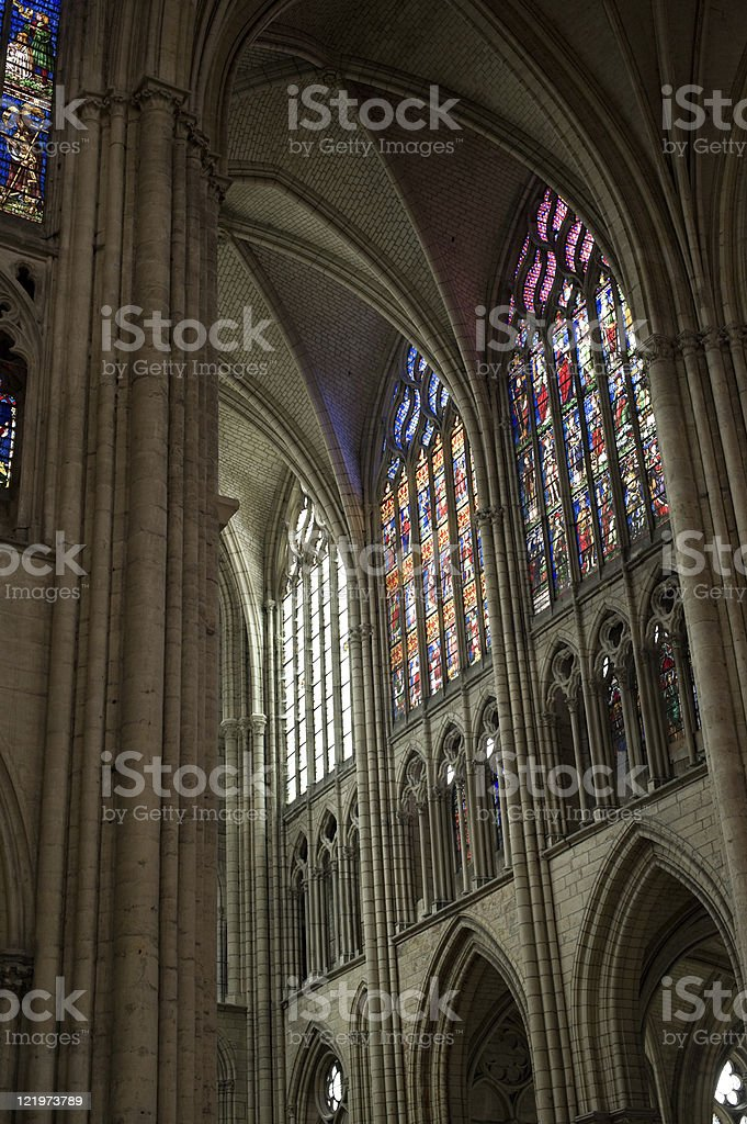 Troyes (Champagne, France) - Cathedral interior, in gothic style royalty-free stock photo