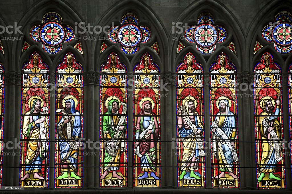 Troyes (Champagne, France) - Cathedral interior: stained glass windows stock photo
