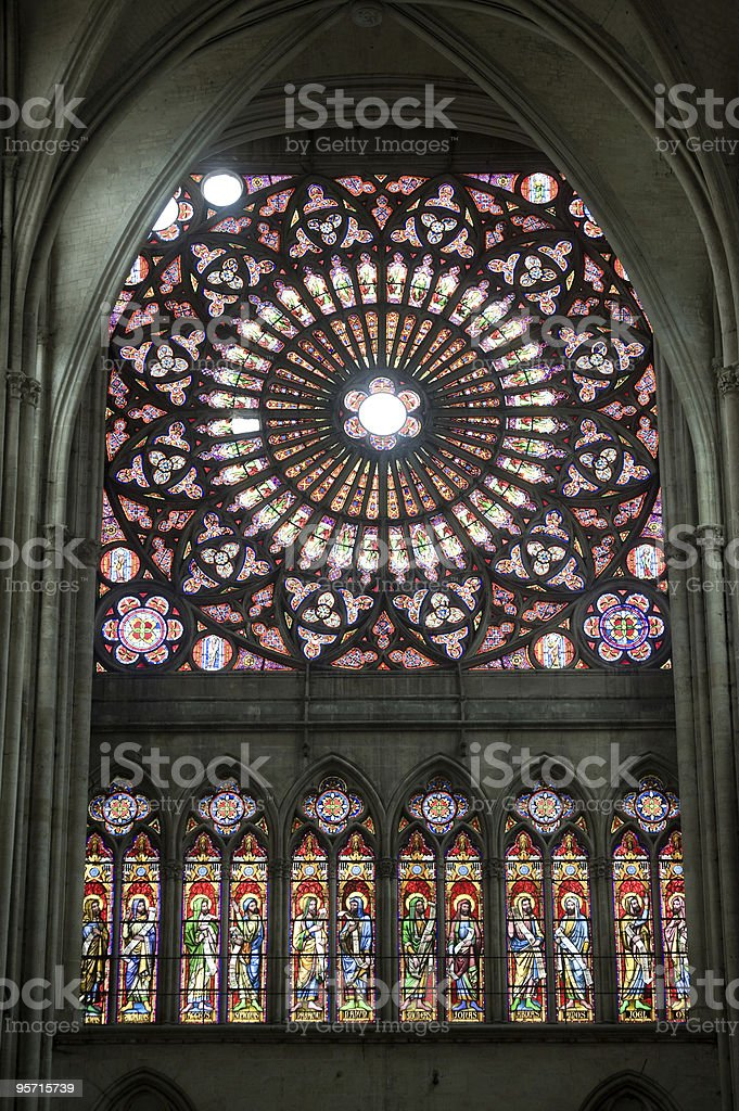 Troyes (Champagne, France) - Cathedral interior, stained glass windows royalty-free stock photo