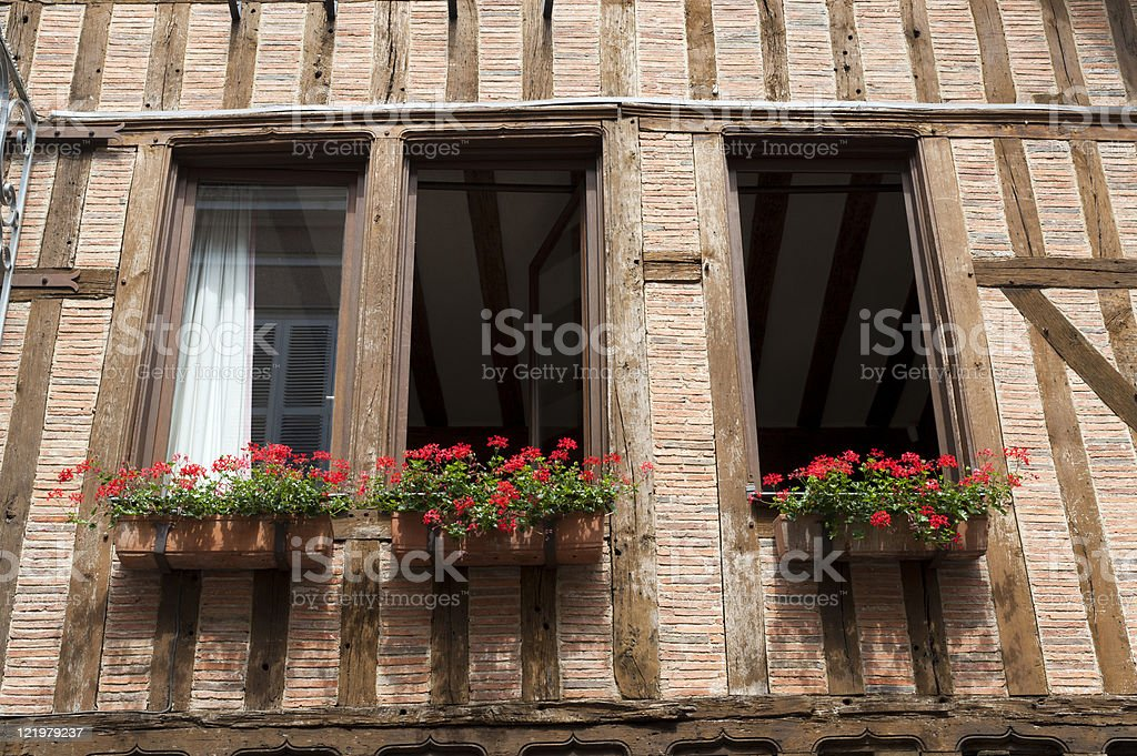 Troyes , half-timbered building royalty-free stock photo