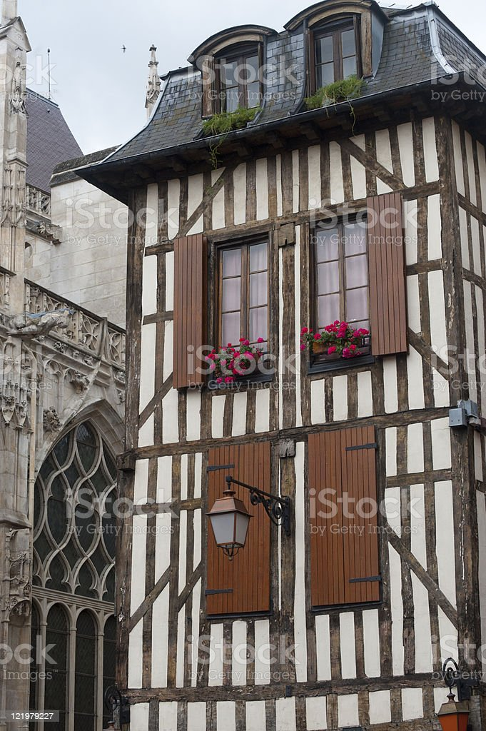 Troyes , half-timbered buildings stock photo