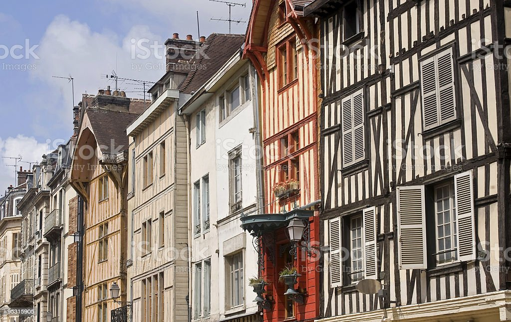 Troyes (Champagne, France) - Half-timbered buildings stock photo