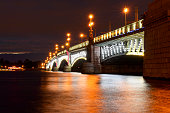Troytsky bridge lights at night, Saint-Petersburg