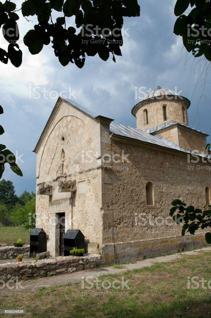 Trska Crkva - Trska Church With Leaves stock photo
