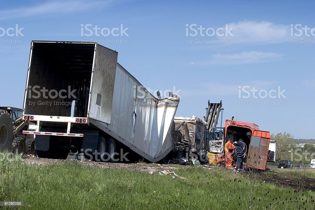 Truck Accident Fire stock photo