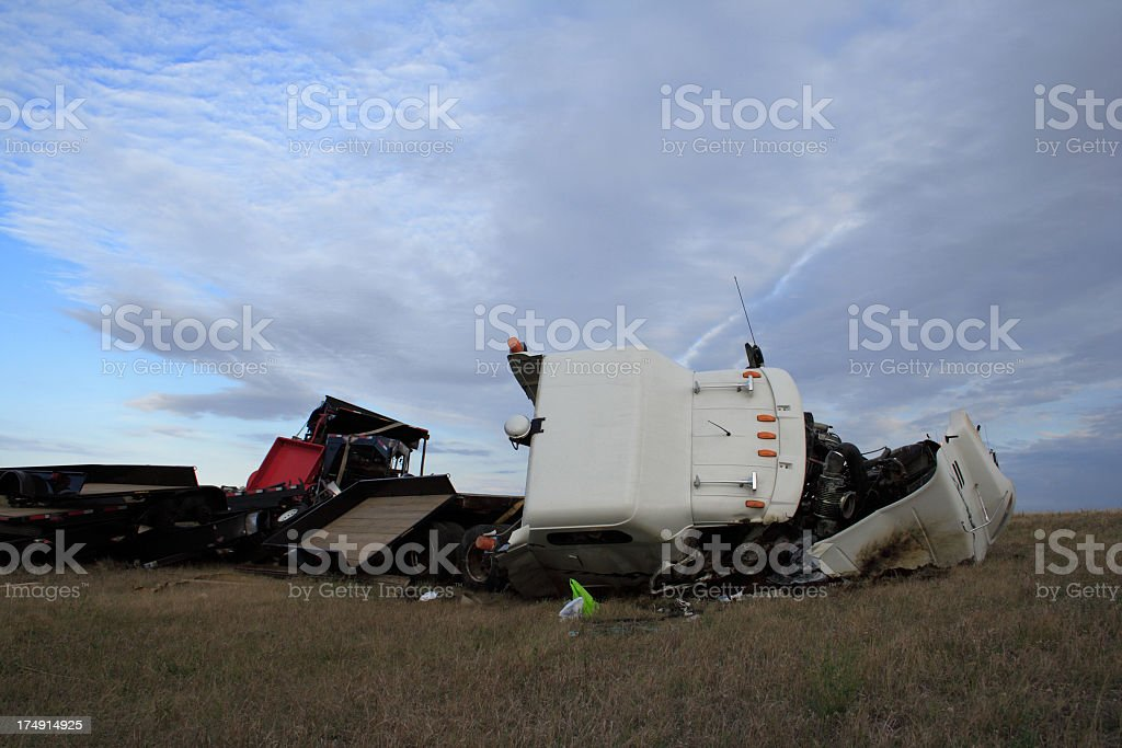 A truck accident in the fields  stock photo