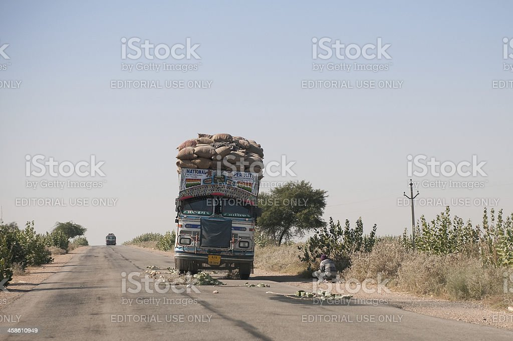 Truck accident on highway road in Rajasthan, India stock photo