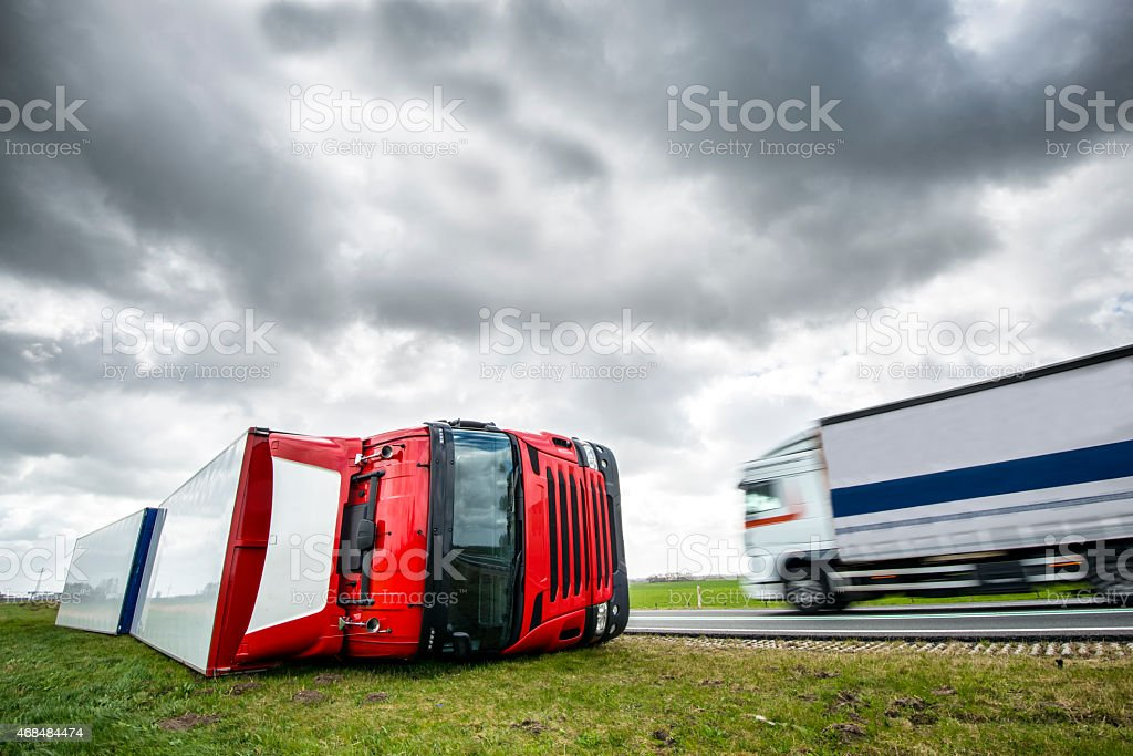 Truck after accident caused by strong winds during a storm stock photo