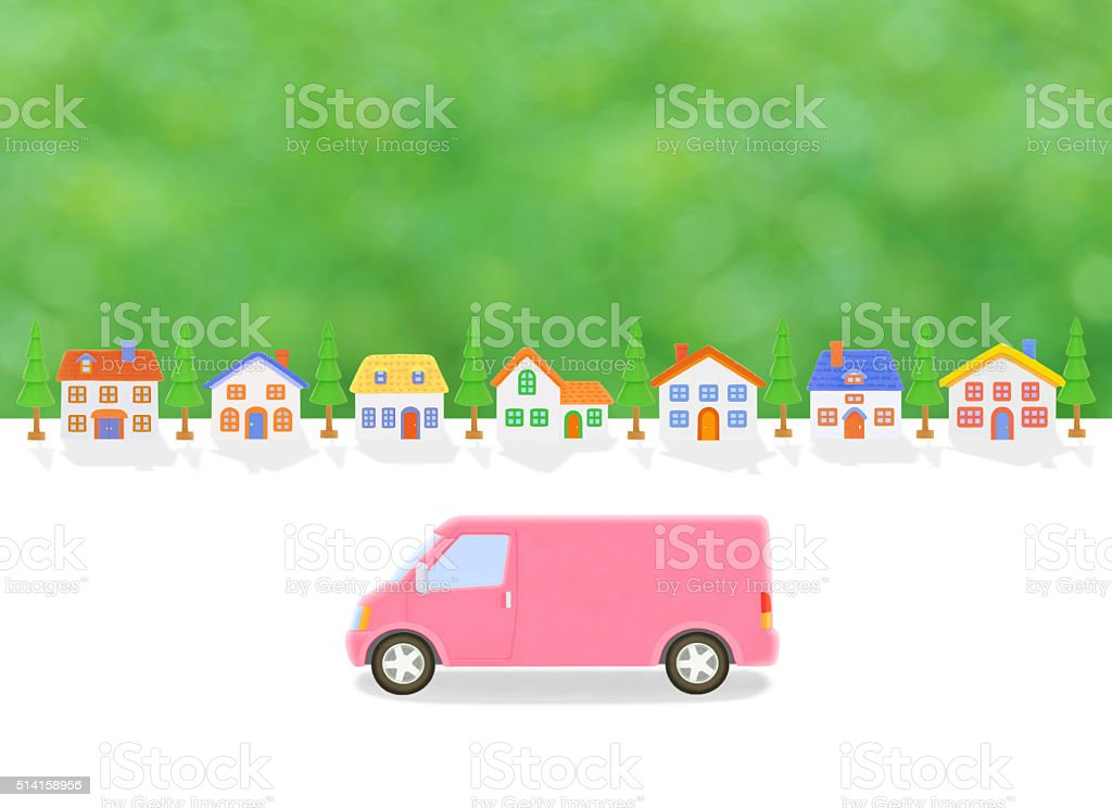 truck and houses stock photo