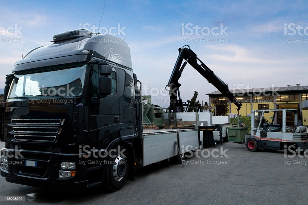Truck and mobile crane stock photo