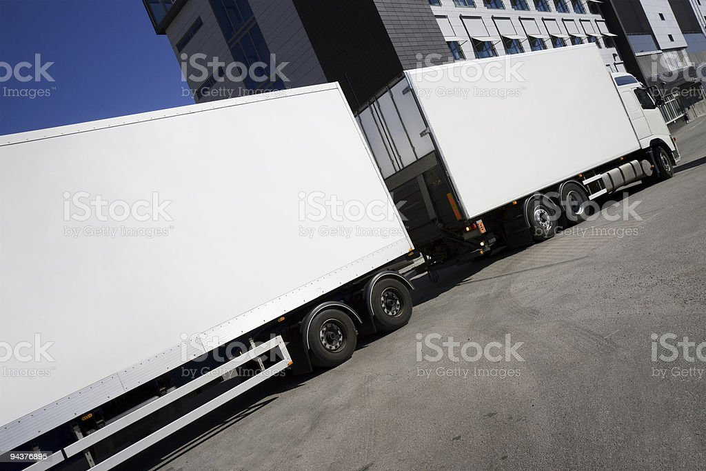 Truck and trailer stock photo