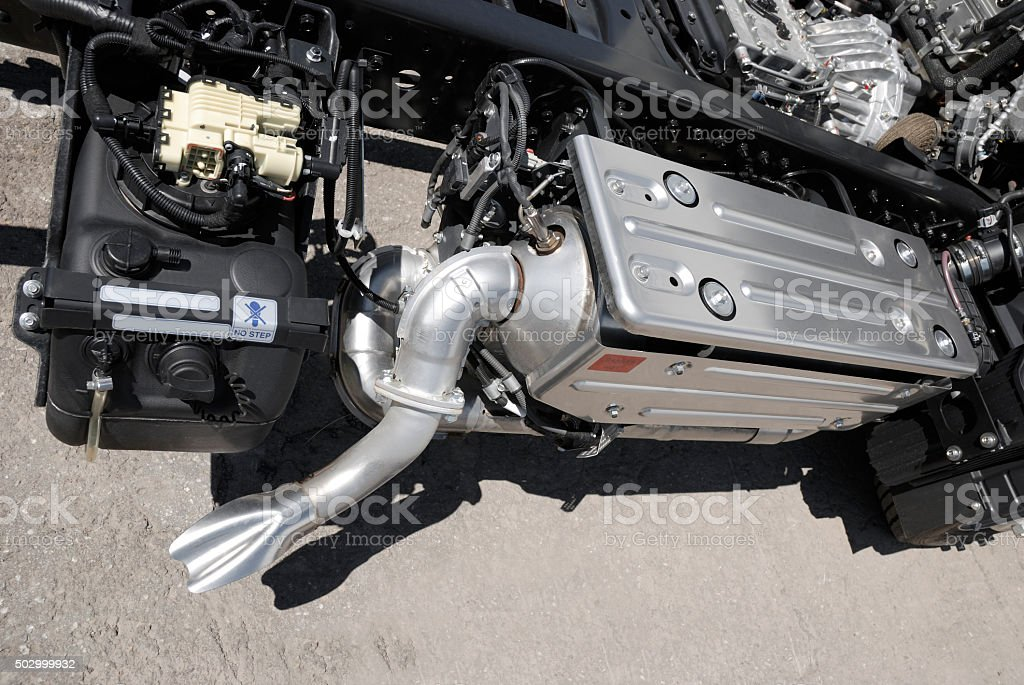 truck anti-pollution systeme. stock photo