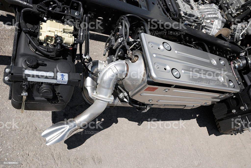 truck anti-pollution systeme. stock photo