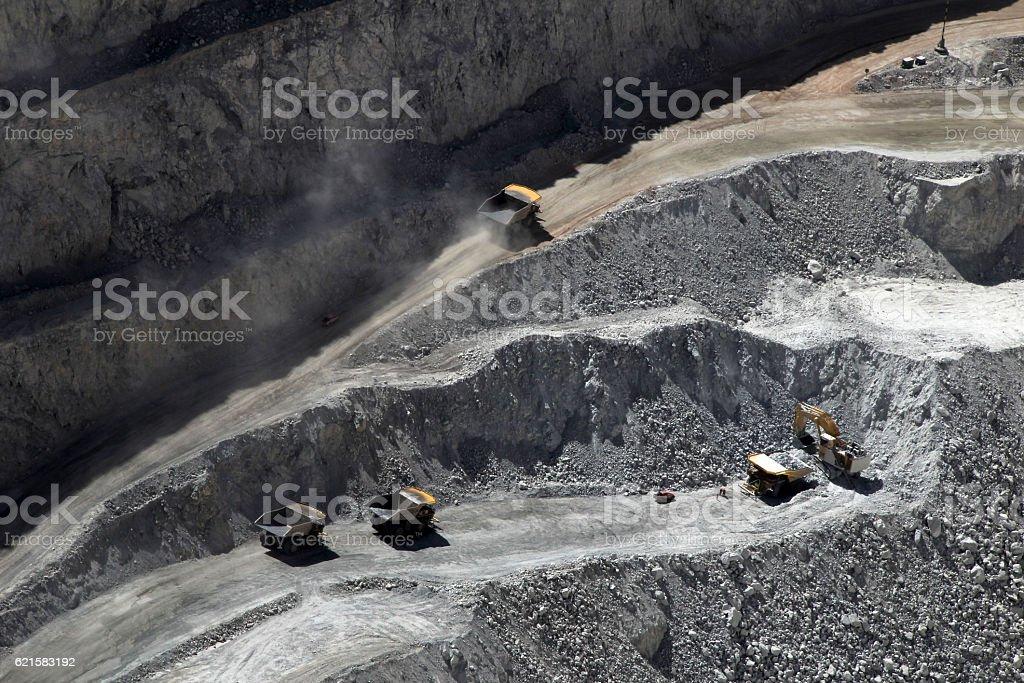 Truck at Chuquicamata, world's biggest open pit copper mine stock photo