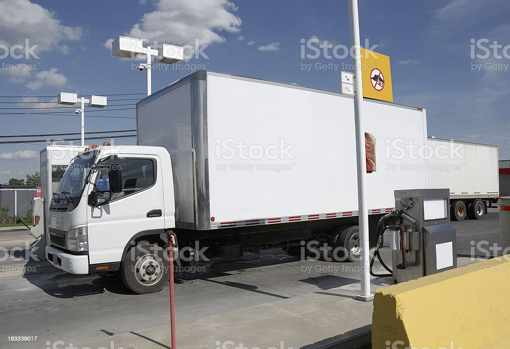 Truck at fuel station. royalty-free stock photo
