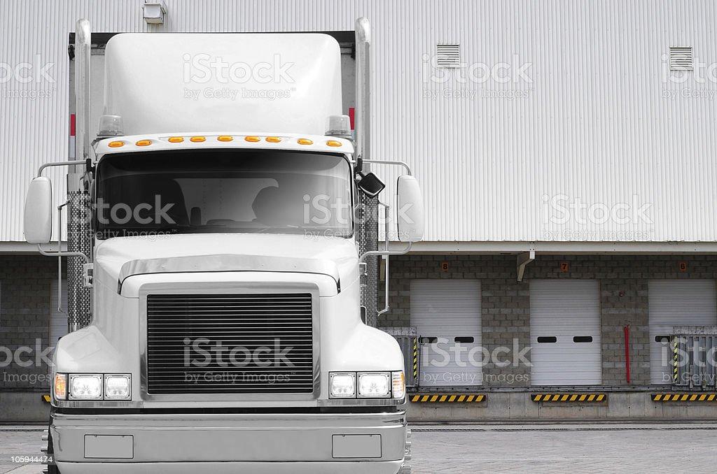 Truck at loading dock. stock photo