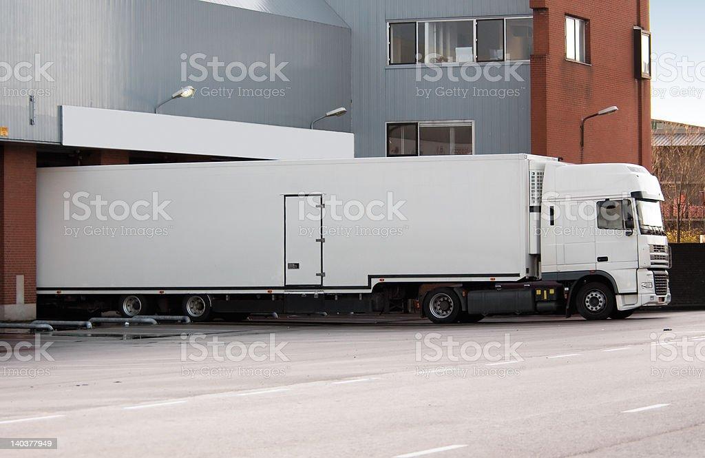truck at loading dock stock photo