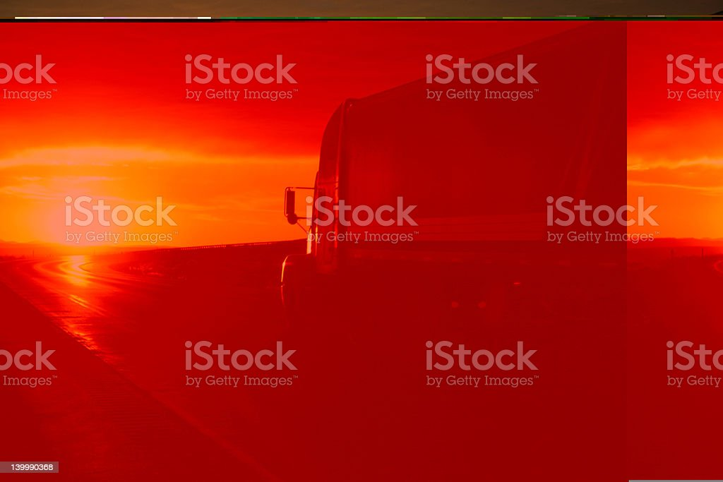 Truck at sunset royalty-free stock photo