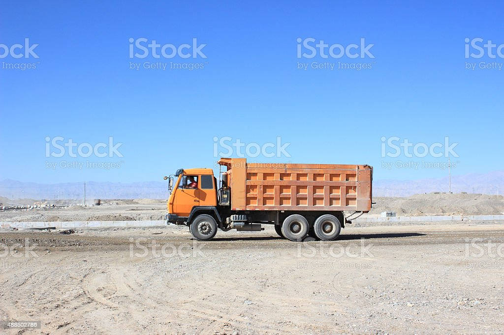 Truck at the construction site stock photo