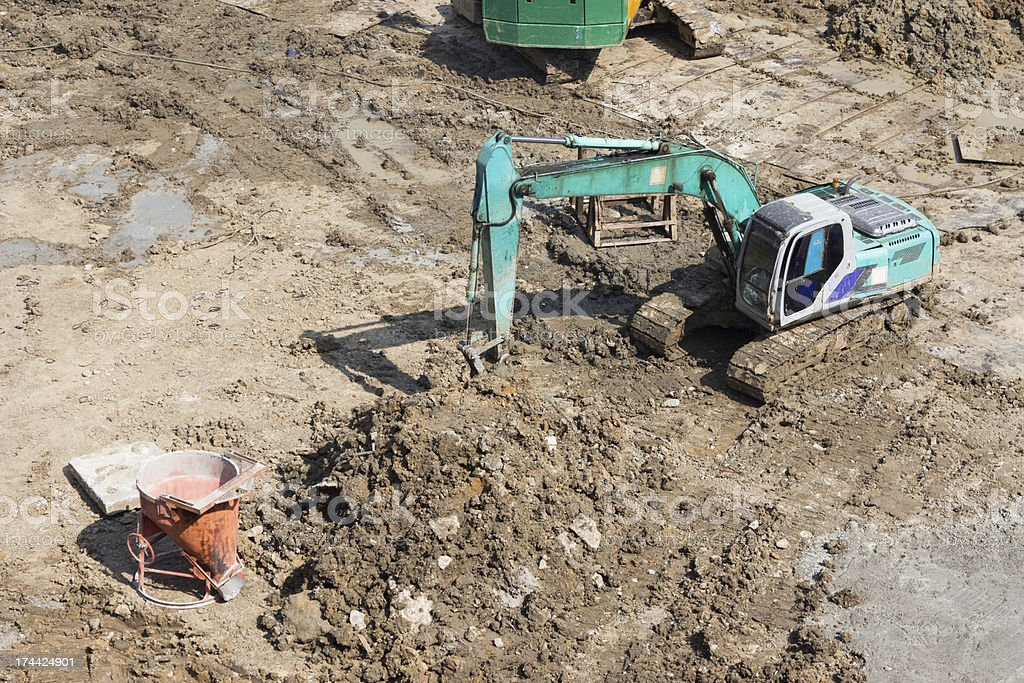 Truck backhoe Soil excavation movement in construction site. royalty-free stock photo