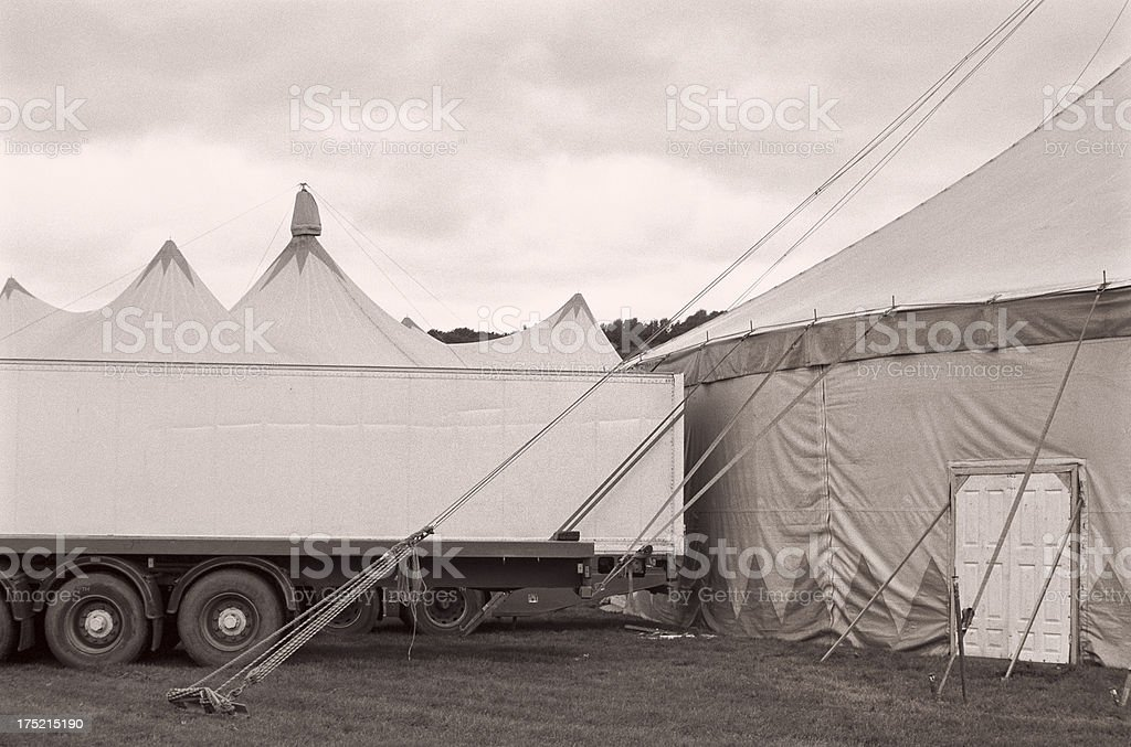 Truck behind the circus tent royalty-free stock photo