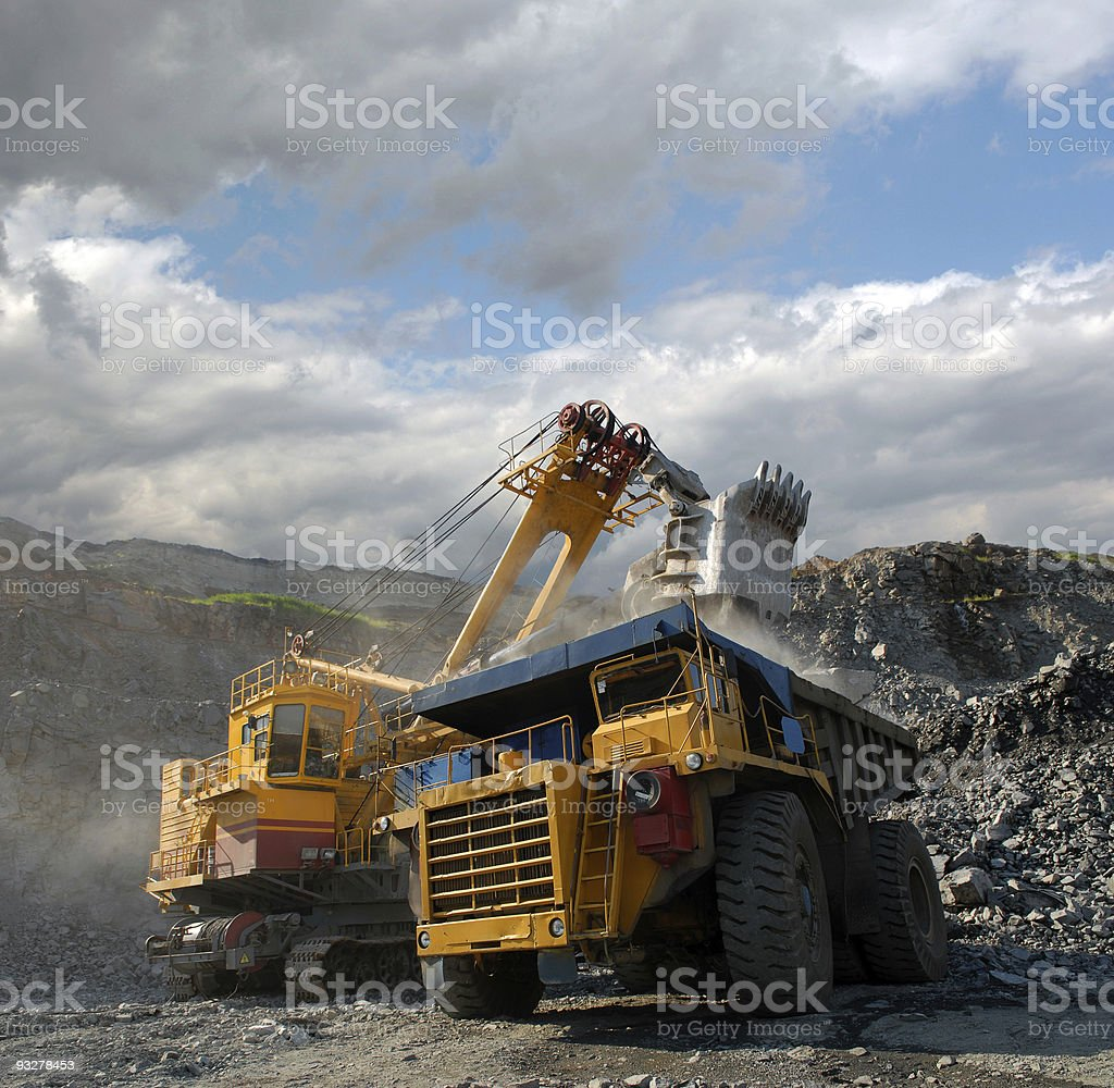 Truck being loaded with iron ore stock photo