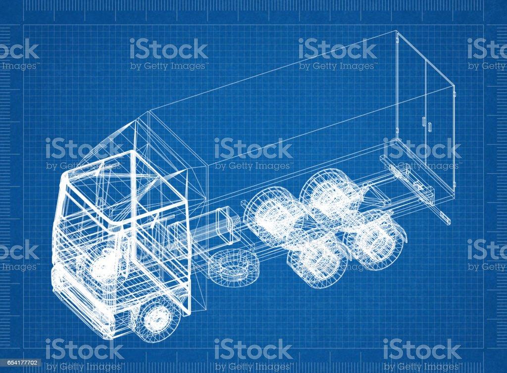 Truck blueprint – 3D perspective stock photo