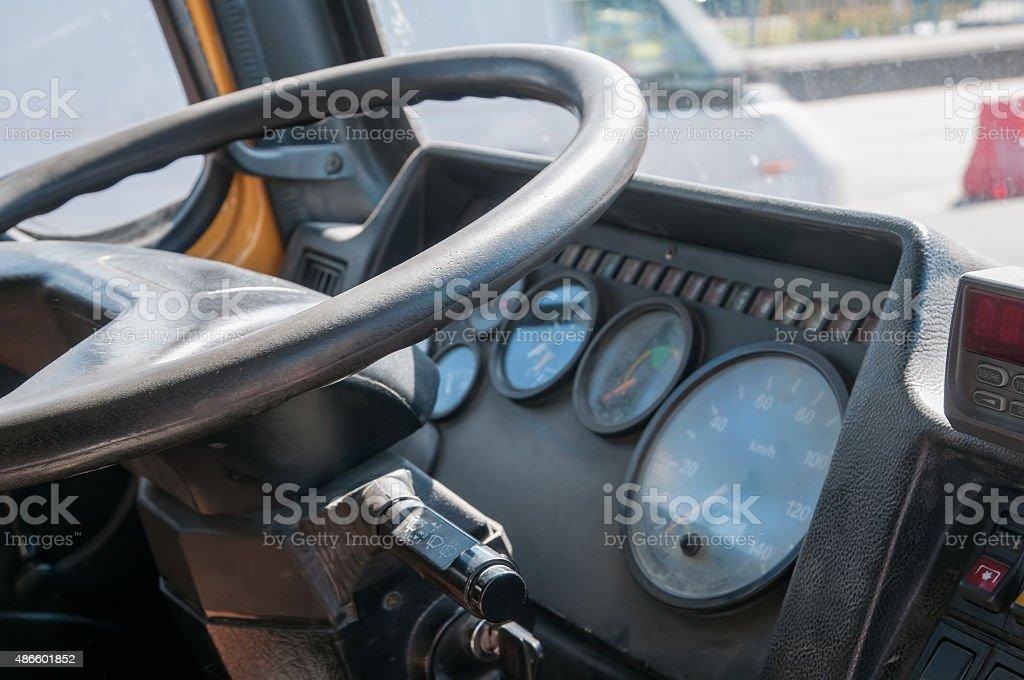 Truck cabin interior stock photo