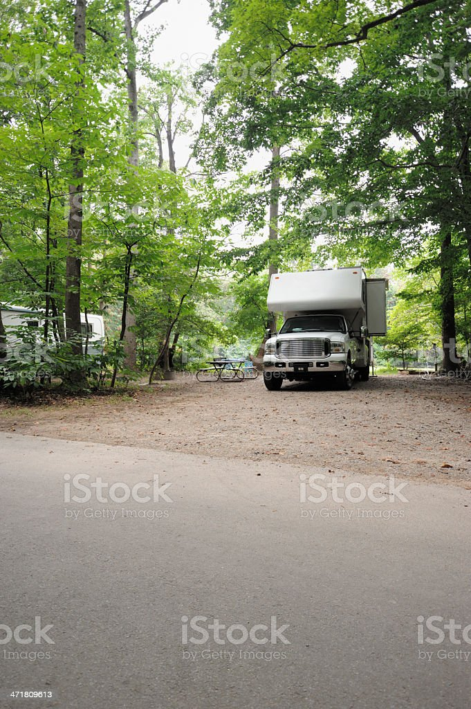 Truck camper in campsite royalty-free stock photo