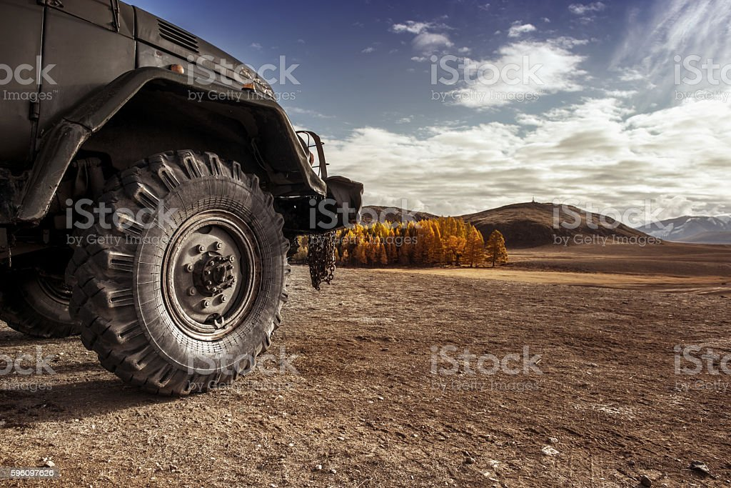 Truck car wheel offroad concept stock photo