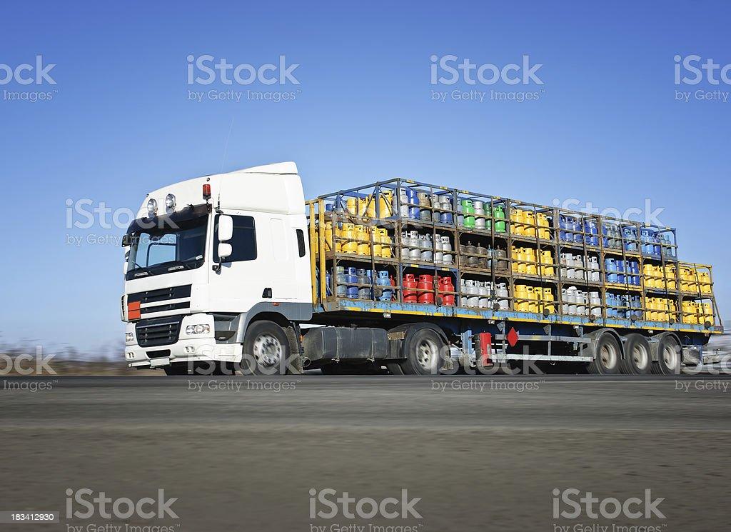 truck carrying LPG bottles stock photo