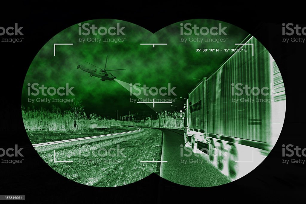 Truck chase - view from nightvision stock photo