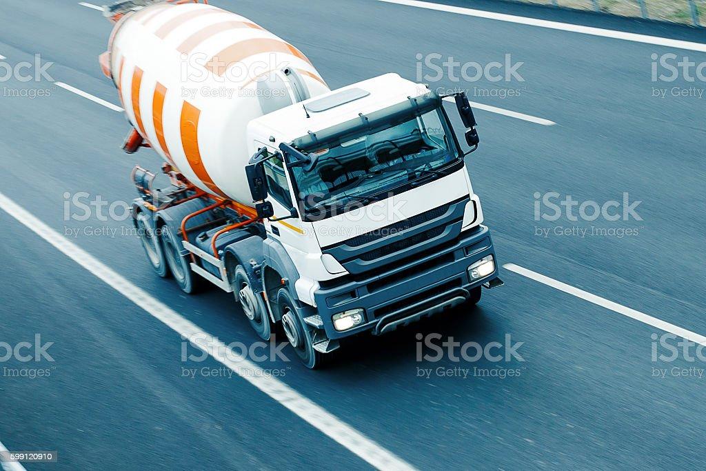Truck concrete mixer stock photo