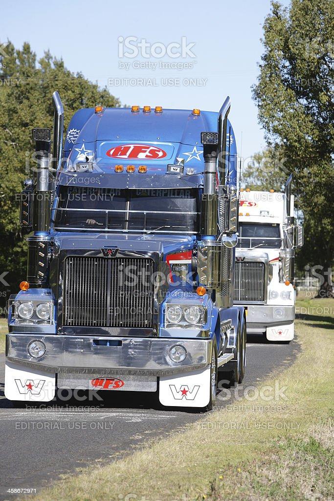 Truck Convoy stock photo
