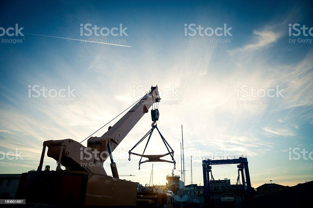 Truck crane at the harbor royalty-free stock photo