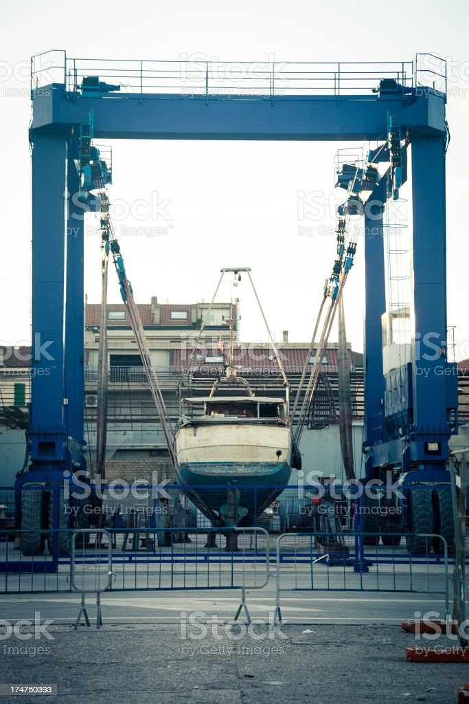 Truck crane in a dry dock royalty-free stock photo